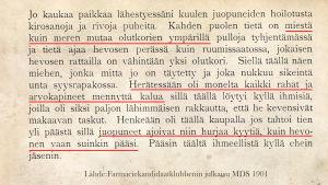 Muuan markkinamuisto Farmacieklubbenin MDS -julkaisussa 1901