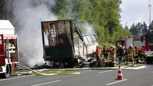Svår bussolycka i Bayern i södra Tyskland den 3 juli 2017.