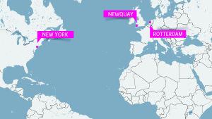 Karta med new York, Rotterdam och Newquay.