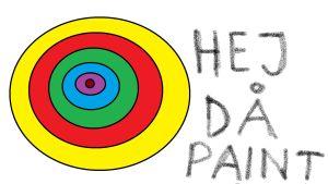 """En klassisk paint teckning, olika färgade cirklar och texten """"Hej då paint"""""""