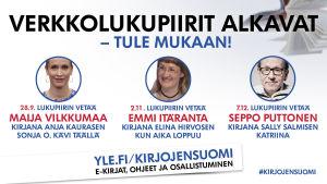 Kirjojen Suomen verkkolukupiirit syksyllä 2017 kokoontuvat 28.9; 2.11. ja 7.12.