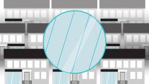 Grafiikka: terassin lasiovia, taustalla kerrostaloja.
