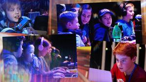 barn vid datorer på lan-party
