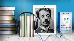 Kirjapino, kirjojen ympärillä kuulokkeet, Kirjailija Teuvo Pakkala ja hänen kirjansa kansikuva
