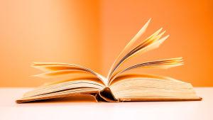 Kirja avoimena pöydällä