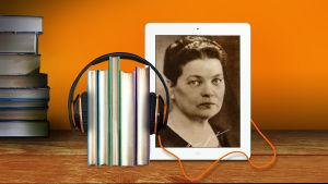 Kirjapinoilla on kuulokkeet ja ipadin kuvassa Maria Jotuni