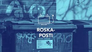Tekstit: Roskaposti, Digitreenit, yle.fi/oppiminen. Kuvassa roska-astia.