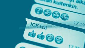 Tekstit: Emojit puhelimeen, Digitreenit, yle.fi/oppiminen. Kuvassa emoji: naama ja aurinkolasit.