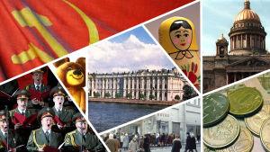 Kuvasikermä, jossa Talvipalatsi, maatuska, puna-armeijan kuoro, Iisakinkirkko, jono kauppaan kadunkulmassa, kopeekoita, Misha-karhu