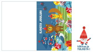 Tulostettava taitettava joulukortti eläimet