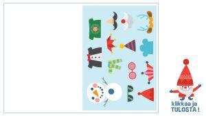 Tulostettava taitettava joulukortti lumiukon pukeminen