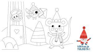 Tulostettava värityskuva hiiri