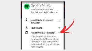 Kuvakaappaus: Google Play -kaupan sovellus pyytää lupia sovellusta asentaessa.