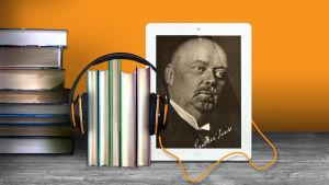 Santeri Ivalo iPadin kuvassa ja kirjanipuilla kuulokkeet ympärillään