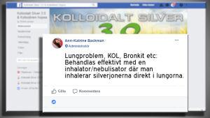 Ann-Katrin Backman ger råd om bruk av silvervatten i facebookgrupp.