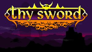 Titelbilden till spelet Thy Sword. Det står Thy Sword mot en skymningsbakgrund.