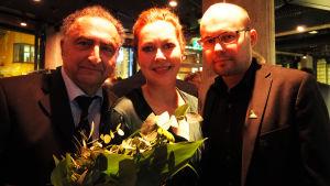 Vladimir Agopov, Essi Luttinen ja Kirill Kozlovski Lied-sävellyskilpailun 2017 säveltäjä ja voittoisan teoksen esittäjät