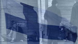 Asunnottomia kadulla, suomenlippu häiveenä päällä