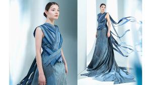 Ekomuotiin erikoistuneen Paula Malleuksen suunnittelema mekko Linnan juhliin