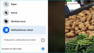 Kuvakaappaus Facebookista: Julkaisua odottava valokuva ja sitä kuvaileva teksti.