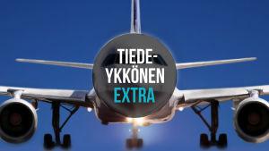 lentokone ja päällä teksti Tiedeykkönen Extra