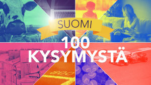 Tietovisan pääkuva, tekstissä lukee Suomi 100 kysymystä.