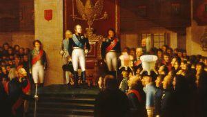 Osa maalauksesta Porvoon valtiopäivät 1809, Aleksanteri I antaa hallitsijanvakuutuksen. Emanuel Thelning 1812.