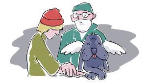 Eläinlääkäri hoitaa myös lemmikin omistajaa.