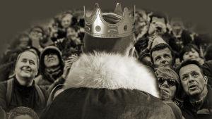 Kuningas Harald -kuunnelman kuvistusta, kuningas ja kansaa