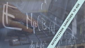"""Tietokoneen näppäimistö ja teksti """"Matematiikan sähköinen yo-koe)"""
