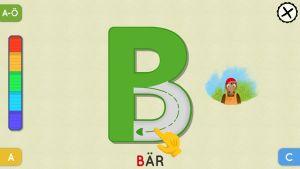 Skärmbild ur Bärtils bokstavsspel som ingår i appen BUU-klubben