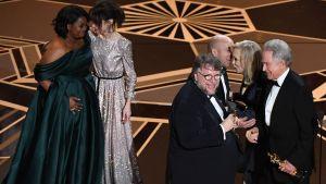 Oscar-gaalan palkintojenjaossa parhaan elokuvan Oscarin voittaneen The Shape of Waterìn työryhmä