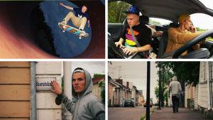 Neljä valokuvaa kollaasina, ylhäällä nuori mies skeittaa rampilla, vierssa kaksi nuorta miestä istuu autossa, alhaalla nuori mies seisoo ja osoittaa kylttiä Saaristokatu, vieressä kävelee kadulla pois päin kamerasta