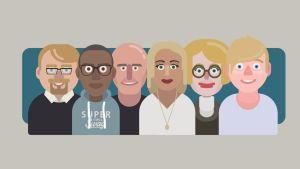 Illustration av personer från olika generationer.