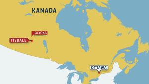 Karta över Kanada där platsen för bussolyckan är utmärkt.