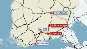 Karta över södra halvan av Finland.