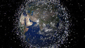 Illustrerad bild av skrot i jordens omloppsbana.