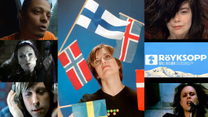 Micaela Metso och collage av artister i Nordiska videolistan, 2001
