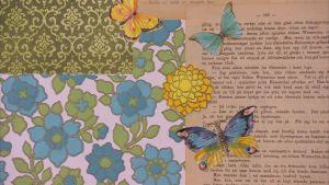 Lees tapet av gamla boksidor, papper och glansbilder.