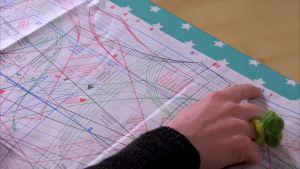 I mönsterarket anges varje mönsterdel med nummer och färg.