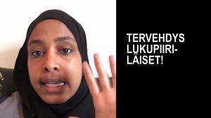 Kuvakaappaus Maryan Abdulkarimin videopäiväkirjasta.