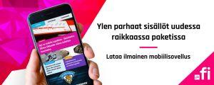 """Mainosbanneri yle.fi applikaatioille. Teksti: """"Ylen parhaat sisällöt uudessa raikkaassa paketissa. Lataa ilmainen mobiilisovellus."""""""