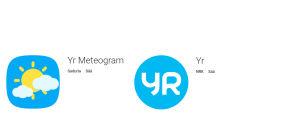 Kahden sovelluksen logo Google Play -sovelluskaupassa.