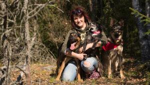 Salla Honkapää toisella polvellaan maassa koiriensa ympäröimänä ja koiria sylissään metsäaukiolla