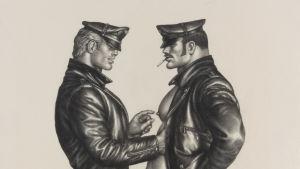 Tom of Finland-teckning med alla kännetecknande element, 1977.
