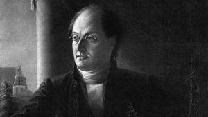 Kirjailija Johan Ludvig Runeberg (1804-1877), muotokuva. Maalaus: Johan Knutson, 1848. Osasuurennos.