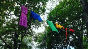 Ett klädstreck där det hänger färggranna kläder.