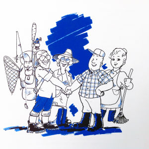 saksalaiset matkailijat tervehtivät suomalaista isäntäväkeä piirroskuvassa
