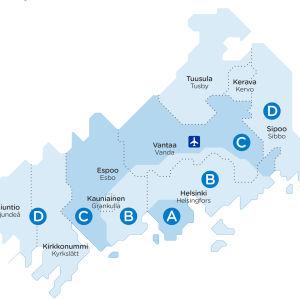 En karta över den nya zonfördelningen inom Helsingforsregionens trafiks område.
