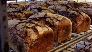 Nybakade bröd på rad i Halmes bageri.